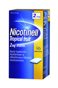 NICOTINELL 2 mg purukumi Tropical Fruit 96 kpl