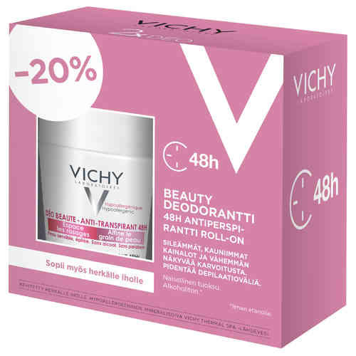 * * VICHY DEO BEAUTY 48h ANTIPERSPIRANT roll-on 2 x 50 ml tuplapakkaus!