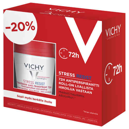 * * VICHY DEO 72 H STRESS RESIST ANTIPERSPIRANT roll-on 2 x 50 ml tuplapakkaus!
