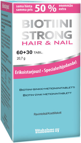 * * BIOTIINI STRONG HAIR and NAIL 60 + 30 tablettia