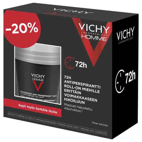 * * VICHY DEO HOMME 72h ANTIPERSPIRANT roll-on 2 x 50 ml tuplapakkaus
