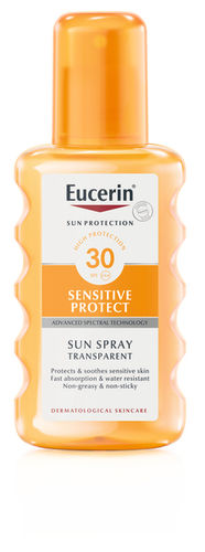 EUCERIN SENSITIVE PROTECT SUN SPRAY TRANSPARENT aurinkosuihke SPF30+ 200 ml
