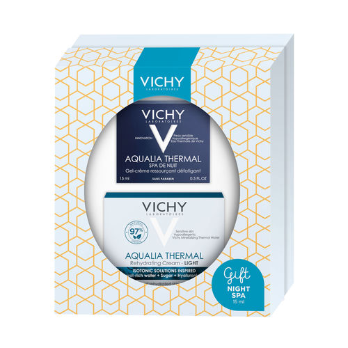 * * LAHJAPAKKAUS VICHY AQUALIA THERMAL Light päivävoide 50 ml ja Aqualia Thermal Night Spa 15 ml